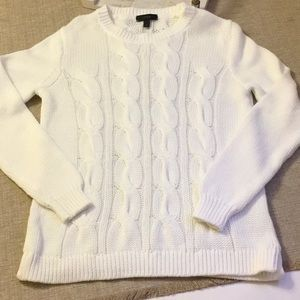 J Crew White Cable Knit Cotton Sweater Size S